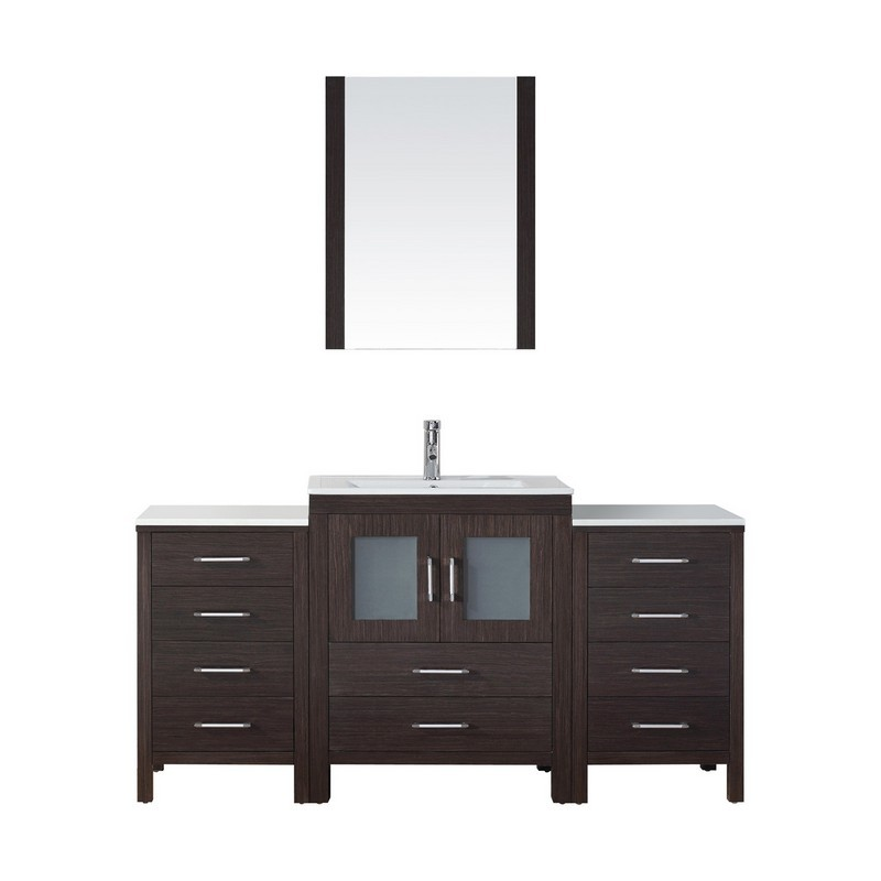 VIRTU USA KS-70064-C DIOR 64 INCH SINGLE BATH VANITY WITH SLIM WHITE CERAMIC TOP AND SQUARE SINK WITH POLISHED CHROME FAUCET AND MIRROR