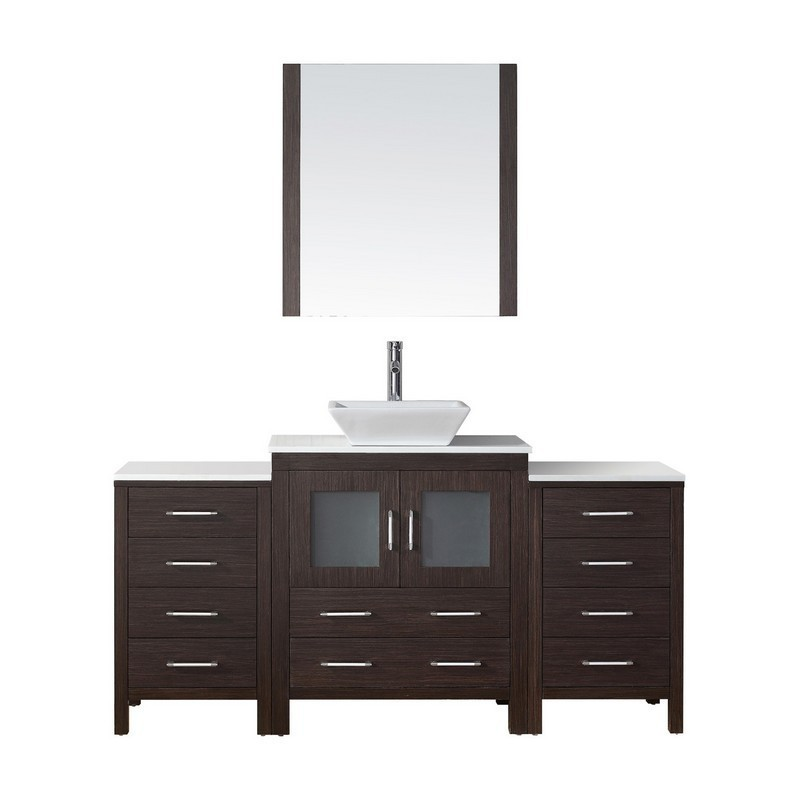 Virtu Usa Kd 70066 Wm Es Dior 66 Inch Double Bath Vanity With Marble Top And Square Sink With Polished Chrome Faucet