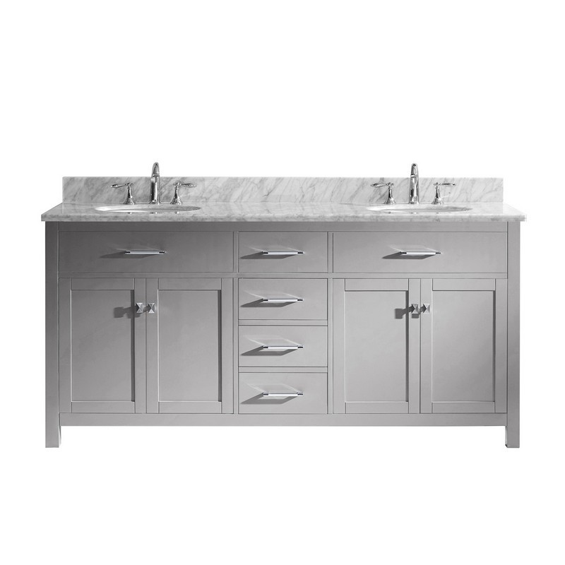 VIRTU USA MD-2072-WMRO-NM CAROLINE 72 INCH DOUBLE BATH VANITY WITH MARBLE TOP AND ROUND SINK
