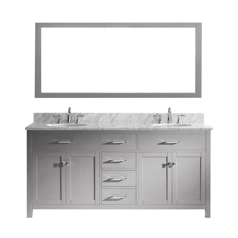 VIRTU USA MD-2072-WMRO CAROLINE 72 INCH DOUBLE BATH VANITY WITH MARBLE TOP AND ROUND SINK WITH MIRROR