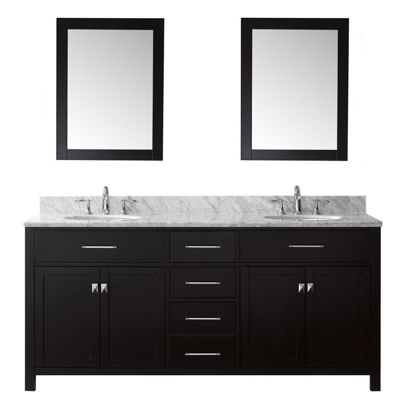 VIRTU USA MD-2072-WMRO-020 CAROLINE 72 INCH DOUBLE BATH VANITY WITH MARBLE TOP AND ROUND SINK WITH MIRRORS