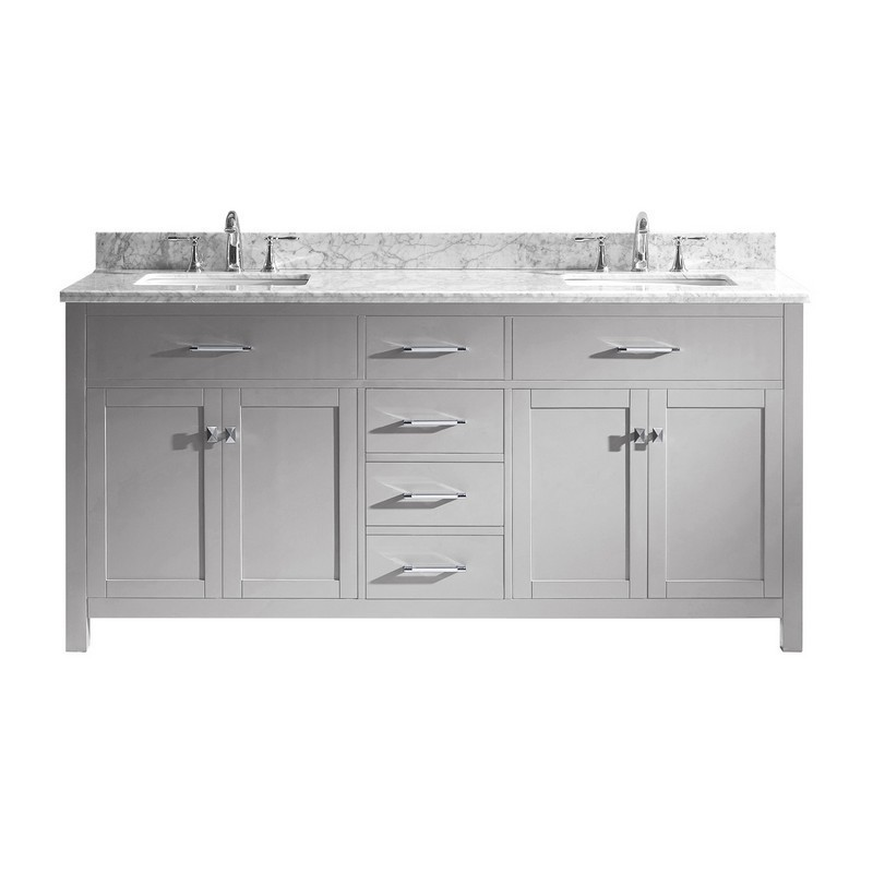 VIRTU USA MD-2072-WMSQ-NM CAROLINE 72 INCH DOUBLE BATH VANITY WITH MARBLE TOP AND SQUARE SINK