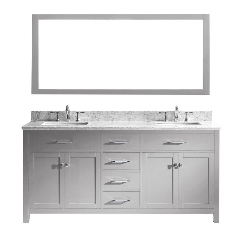 VIRTU USA MD-2072-WMSQ CAROLINE 72 INCH DOUBLE BATH VANITY WITH MARBLE TOP AND SQUARE SINK WITH MIRROR