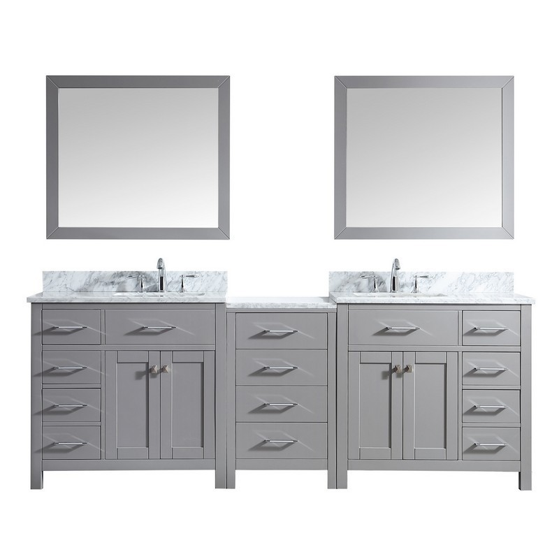 VIRTU USA MD-2193-WMSQ CAROLINE PARKWAY 93 INCH DOUBLE BATH VANITY WITH MARBLE TOP AND SQUARE SINK WITH MIRRORS
