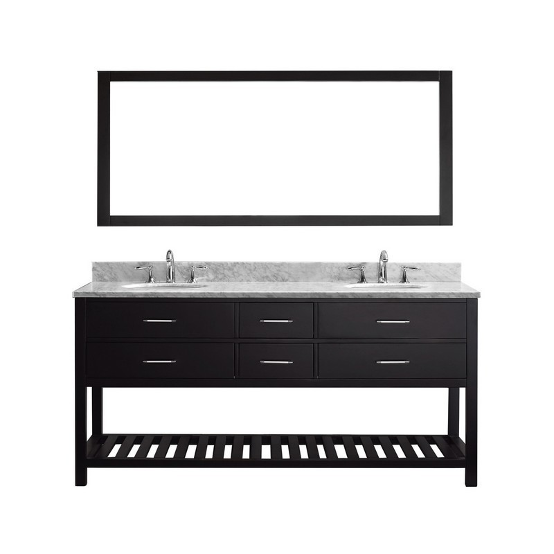 VIRTU USA MD-2272-WMRO-010 CAROLINE ESTATE 72 INCH DOUBLE BATH VANITY WITH MARBLE TOP AND ROUND SINK WITH MIRROR