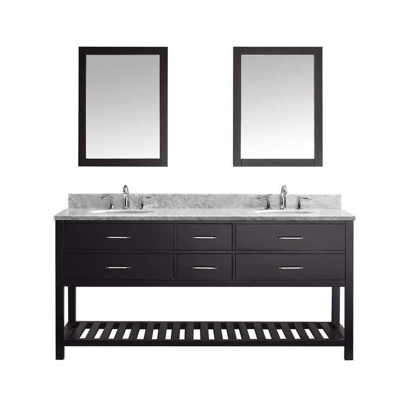 VIRTU USA MD-2272-WMRO CAROLINE ESTATE 72 INCH DOUBLE BATH VANITY WITH MARBLE TOP AND ROUND SINK WITH MIRRORS