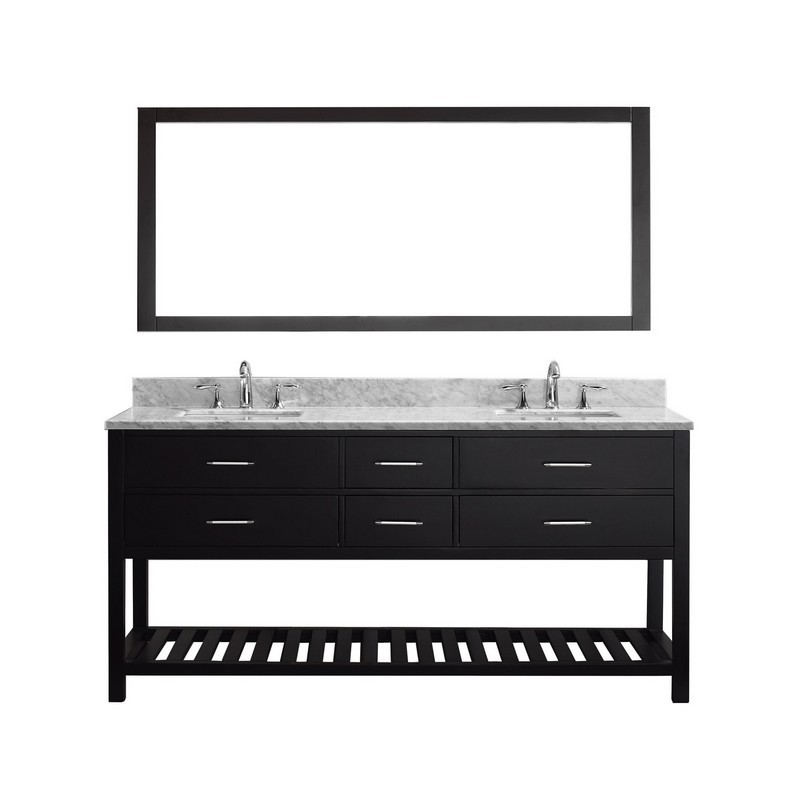 VIRTU USA MD-2272-WMSQ-010 CAROLINE ESTATE 72 INCH DOUBLE BATH VANITY WITH MARBLE TOP AND SQUARE SINK WITH MIRROR
