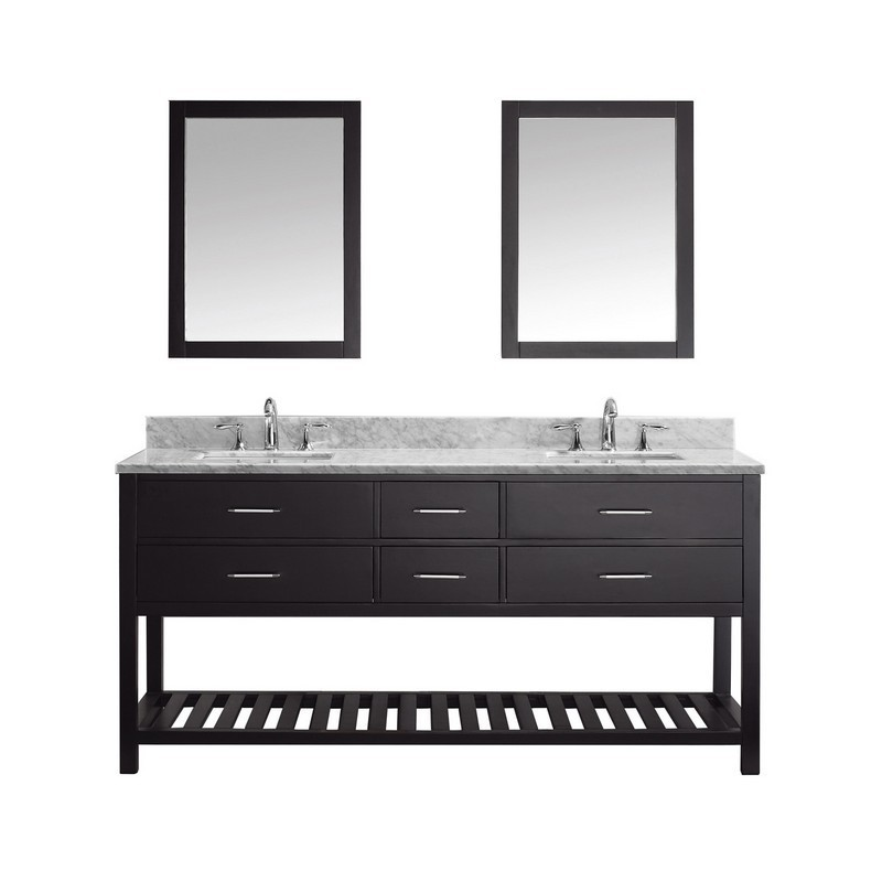 VIRTU USA MD-2272-WMSQ CAROLINE ESTATE 72 INCH DOUBLE BATH VANITY WITH MARBLE TOP AND SQUARE SINK WITH MIRRORS