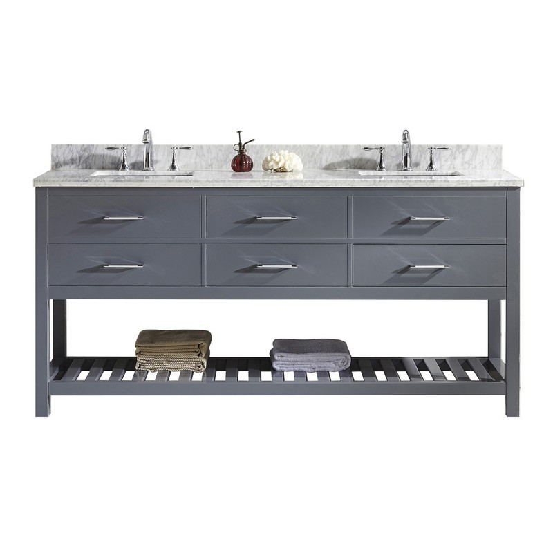VIRTU USA MD-2272-WMSQ-GR-NM CAROLINE ESTATE 72 INCH DOUBLE BATH VANITY IN GREY WITH MARBLE TOP AND SQUARE SINK