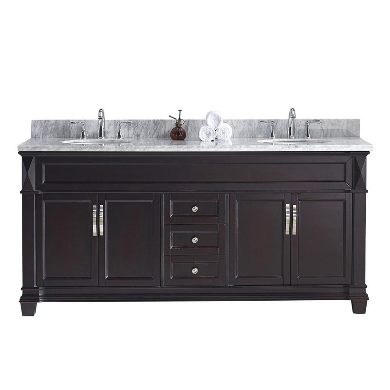 VIRTU USA MD-2672-WMRO-NM VICTORIA 72 INCH DOUBLE BATH VANITY WITH MARBLE TOP AND ROUND SINK