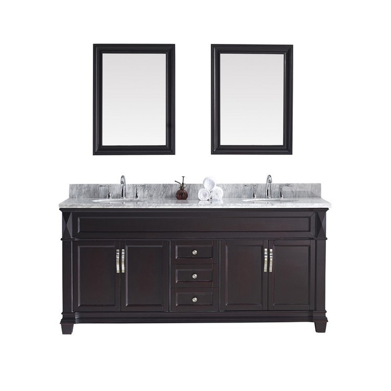 VIRTU USA MD-2672-WMRO VICTORIA 72 INCH DOUBLE BATH VANITY WITH MARBLE TOP AND ROUND SINK WITH MIRRORS