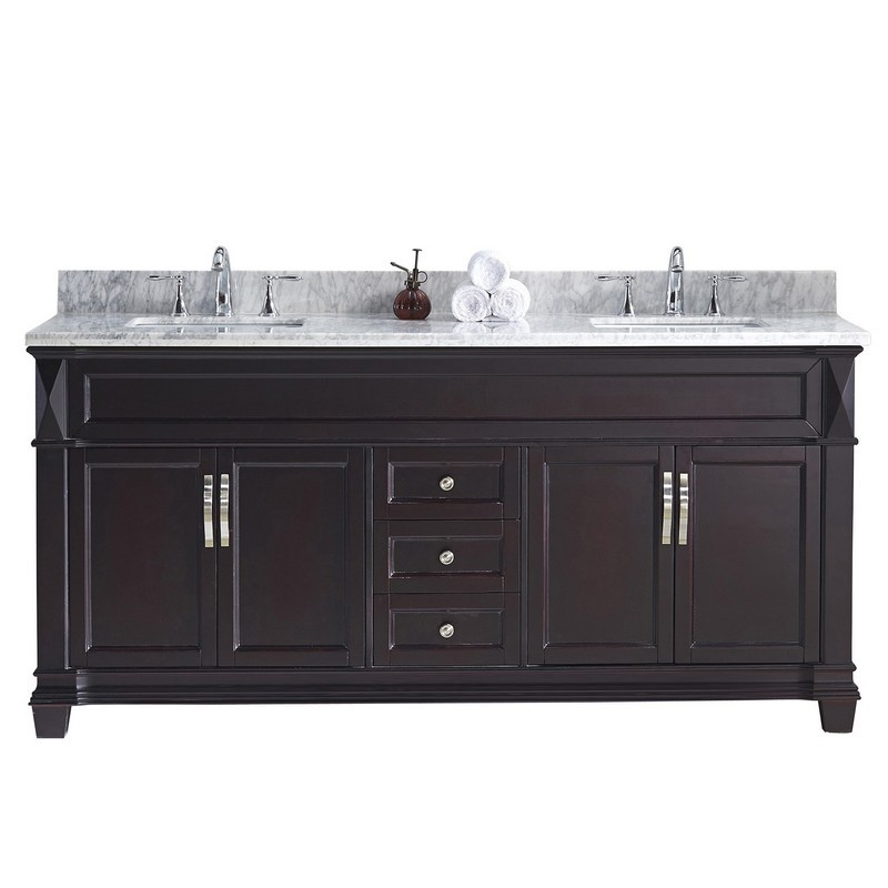 VIRTU USA MD-2672-WMSQ-NM VICTORIA 72 INCH DOUBLE BATH VANITY WITH MARBLE TOP AND SQUARE SINK