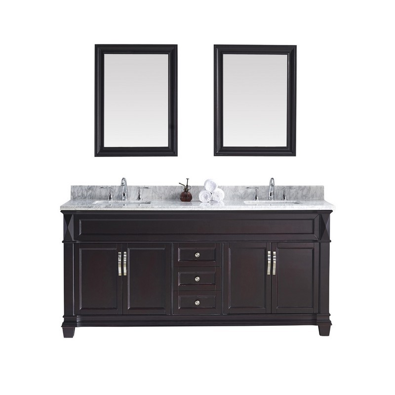 VIRTU USA MD-2672-WMSQ VICTORIA 72 INCH DOUBLE BATH VANITY WITH MARBLE TOP AND SQUARE SINK WITH MIRRORS