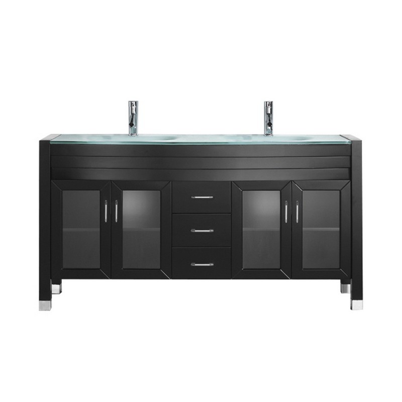 VIRTU USA MD-499-G-NM AVA 63 INCH DOUBLE BATH VANITY WITH AQUA TEMPERED GLASS TOP AND ROUND SINK WITH POLISHED CHROME FAUCET