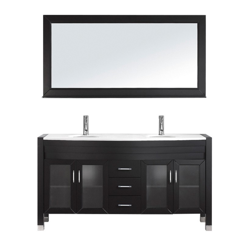 VIRTU USA MD-499-S AVA 63 INCH DOUBLE BATH VANITY WITH WHITE ENGINEERED STONE TOP AND ROUND SINK WITH POLISHED CHROME FAUCET AND MIRROR
