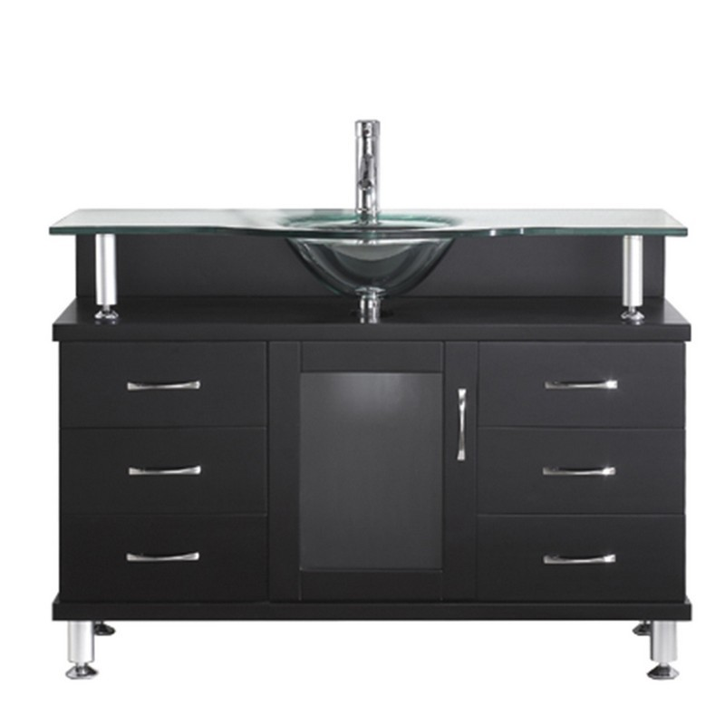 VIRTU USA MS-48-G VINCENTE 48 INCH SINGLE BATH VANITY WITH CLEAR TEMPERED GLASS TOP AND ROUND SINK