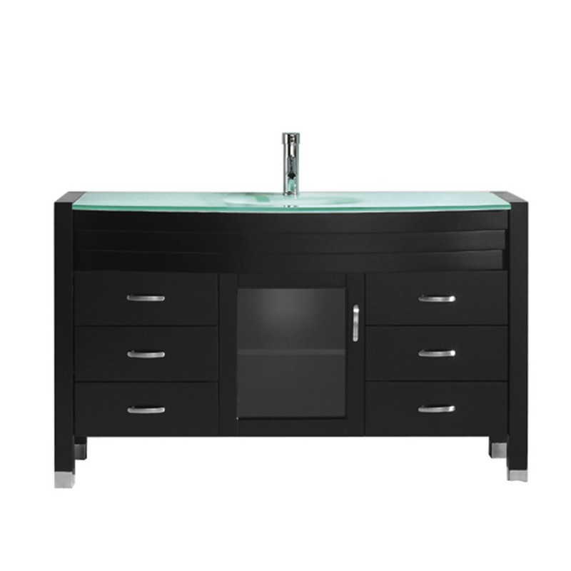 VIRTU USA MS-5055-G-NM AVA 55 INCH SINGLE BATH VANITY WITH AQUA TEMPERED GLASS TOP AND ROUND SINK WITH POLISHED CHROME FAUCET