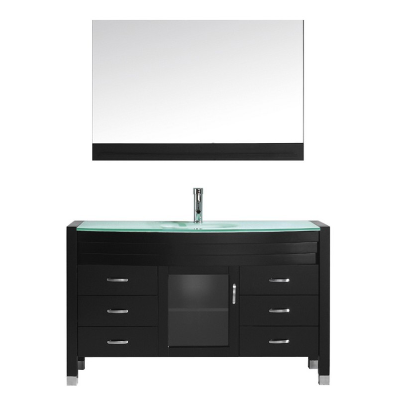 VIRTU USA MS-5055-G AVA 55 INCH SINGLE BATH VANITY WITH AQUA TEMPERED GLASS TOP AND ROUND SINK WITH POLISHED CHROME FAUCET AND MIRROR