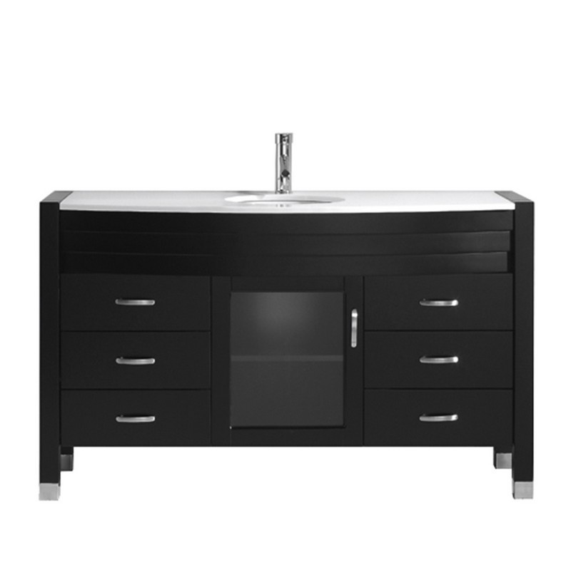 Virtu Usa Ms 5055 S Es Nm Ava 55 Inch Single Bath Vanity With White Engineered Stone Top And Round Sink With Polished