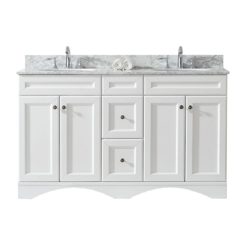 VIRTU USA ED-25060-WMRO-WH-00-NM TALISA 60 INCH DOUBLE BATH VANITY IN WHITE WITH MARBLE TOP AND ROUND SINK WITH FAUCET