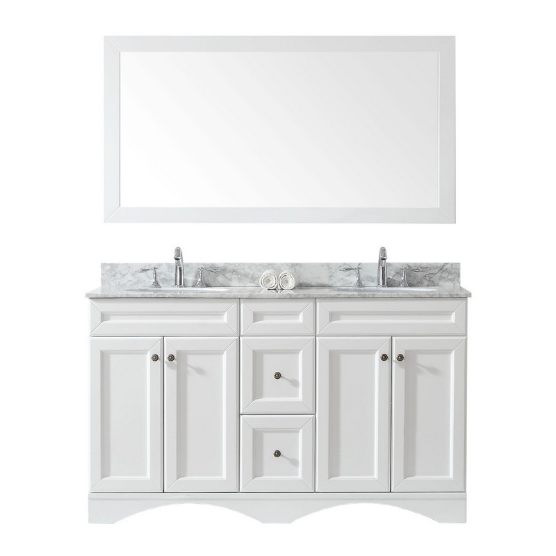 VIRTU USA ED-25060-WMRO-WH-00 TALISA 60 INCH DOUBLE BATH VANITY IN WHITE WITH MARBLE TOP AND ROUND SINK WITH FAUCET AND MIRROR