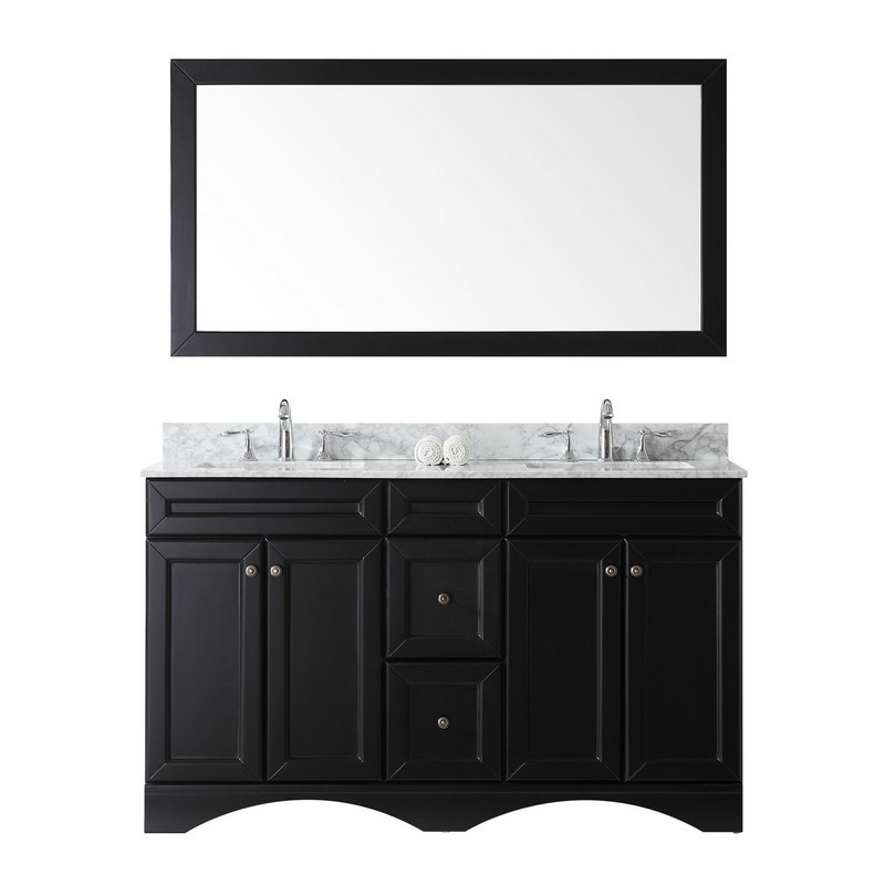 VIRTU USA ED-25060-WMSQ-ES-00 TALISA 60 INCH DOUBLE BATH VANITY IN ESPRESSO WITH MARBLE TOP AND SQUARE SINK WITH FAUCET AND MIRROR