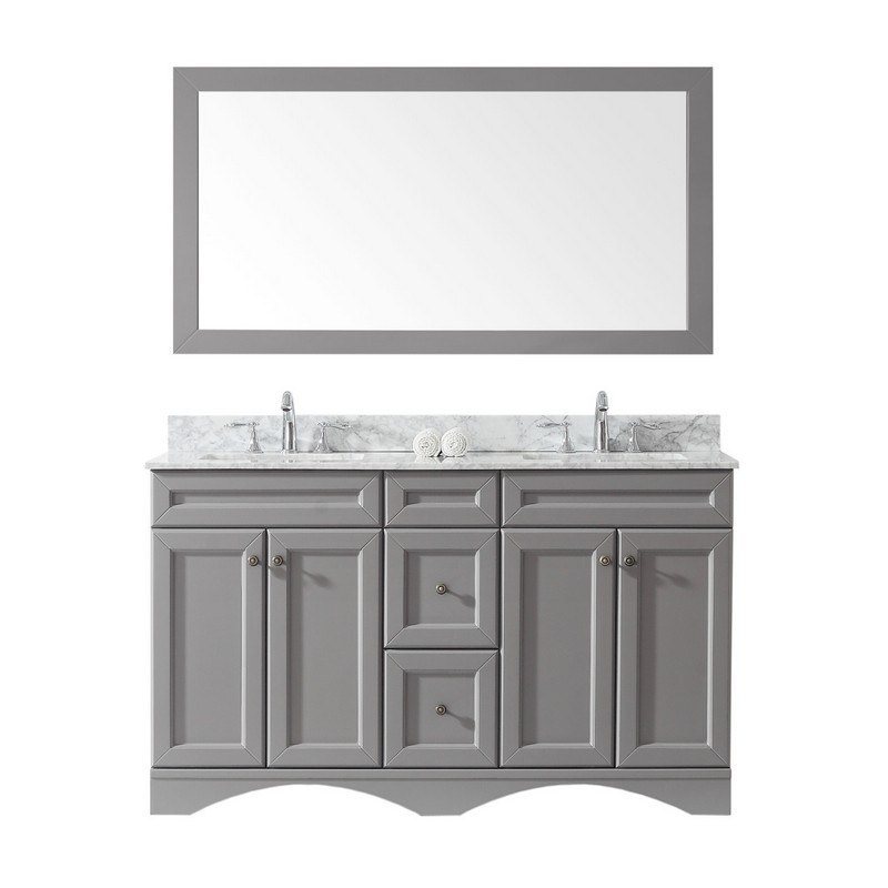 VIRTU USA ED-25060-WMSQ-GR-00 TALISA 60 INCH DOUBLE BATH VANITY IN GREY WITH MARBLE TOP AND SQUARE SINK WITH FAUCET AND MIRROR