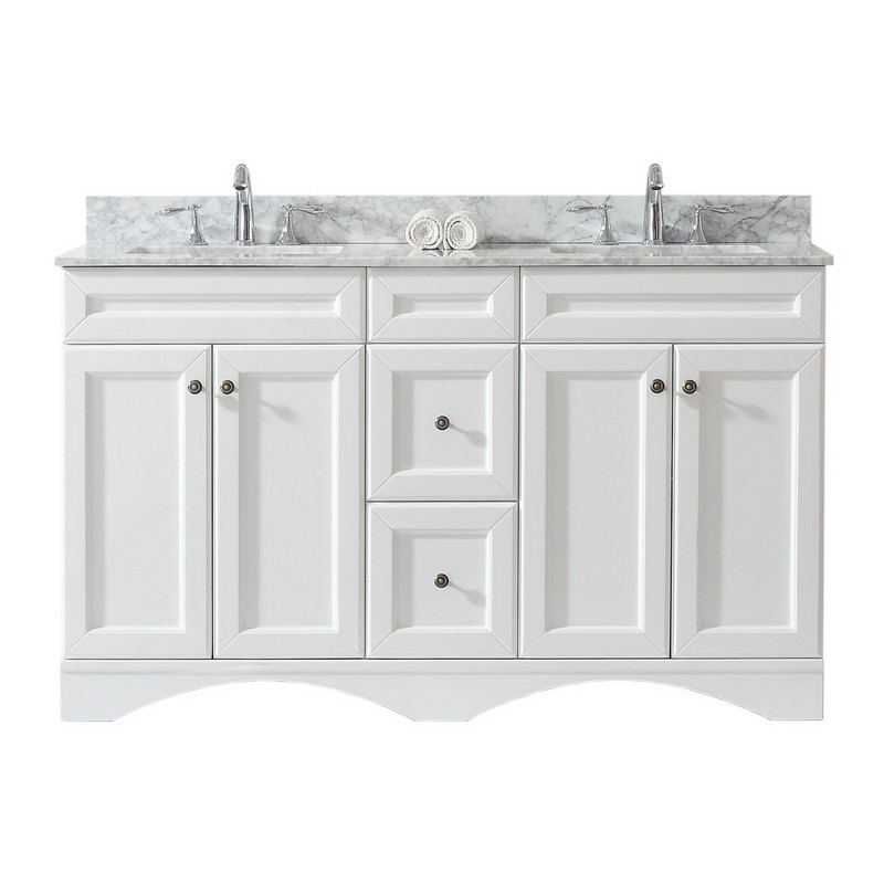 VIRTU USA ED-25060-WMSQ-WH-00-NM TALISA 60 INCH DOUBLE BATH VANITY IN WHITE WITH MARBLE TOP AND SQUARE SINK WITH FAUCET