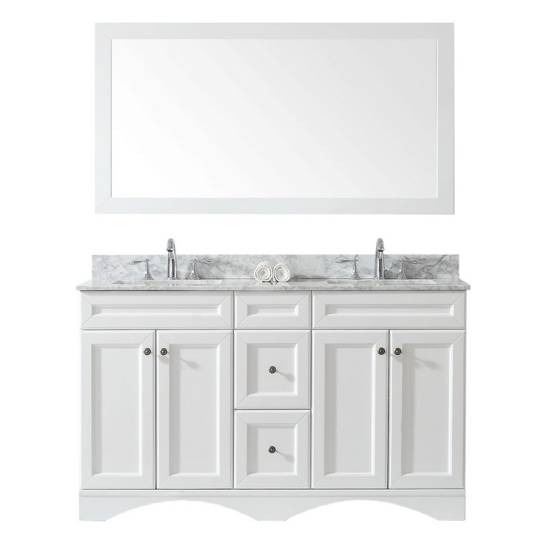 VIRTU USA ED-25060-WMSQ-WH-00 TALISA 60 INCH DOUBLE BATH VANITY IN WHITE WITH MARBLE TOP AND SQUARE SINK WITH FAUCET AND MIRROR