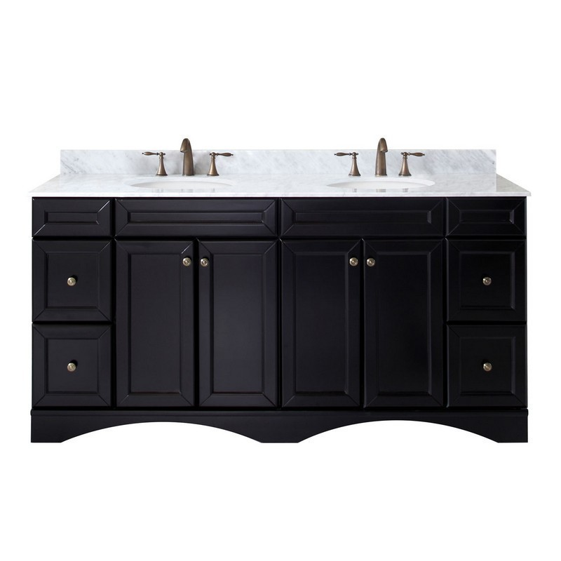 VIRTU USA ED-25072-WMRO-ES-00-NM TALISA 72 INCH DOUBLE BATH VANITY IN ESPRESSO WITH MARBLE TOP AND ROUND SINK WITH FAUCET
