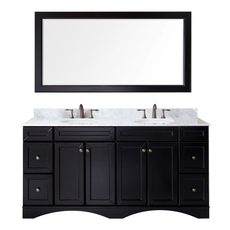 VIRTU USA ED-25072-WMRO-ES-00 TALISA 72 INCH DOUBLE BATH VANITY IN ESPRESSO WITH MARBLE TOP AND ROUND SINK WITH FAUCET AND MIRROR