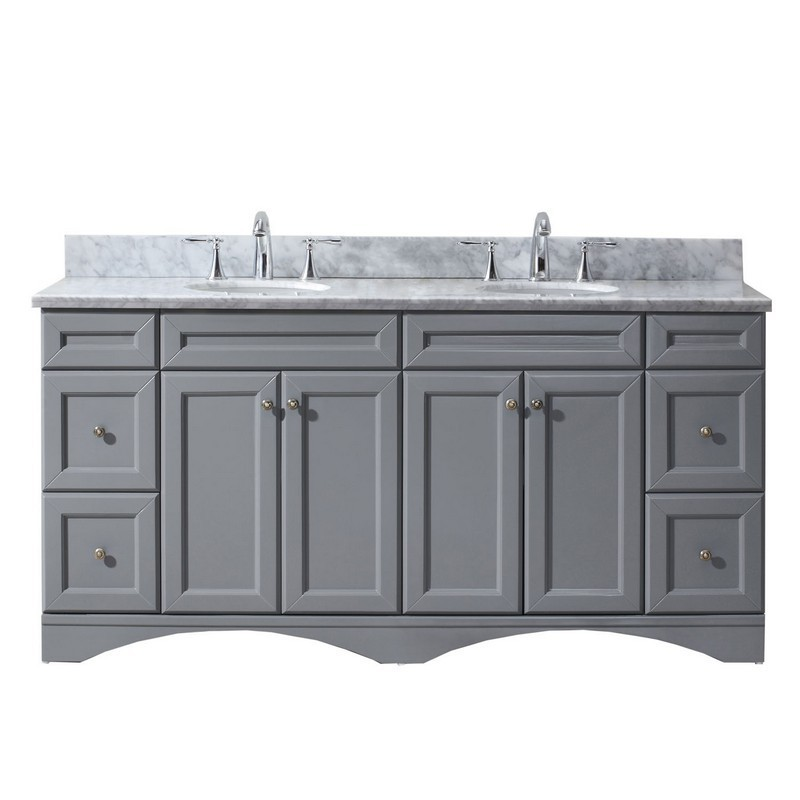 VIRTU USA ED-25072-WMRO-GR-00-NM TALISA 72 INCH DOUBLE BATH VANITY IN GREY WITH MARBLE TOP AND ROUND SINK WITH FAUCET