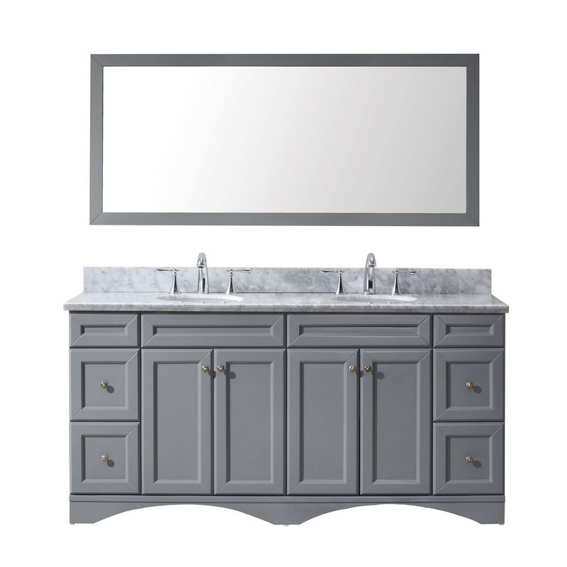 VIRTU USA ED-25072-WMRO-GR-00 TALISA 72 INCH DOUBLE BATH VANITY IN GREY WITH MARBLE TOP AND ROUND SINK WITH FAUCET AND MIRROR