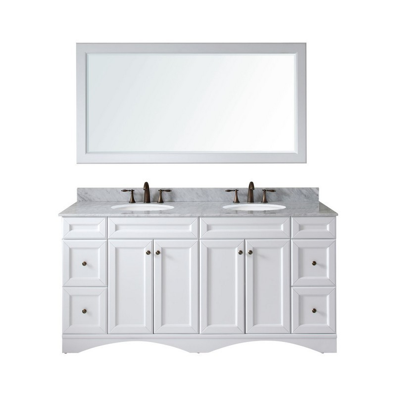 VIRTU USA ED-25072-WMRO-WH-00 TALISA 72 INCH DOUBLE BATH VANITY IN WHITE WITH MARBLE TOP AND ROUND SINK WITH FAUCET AND MIRROR