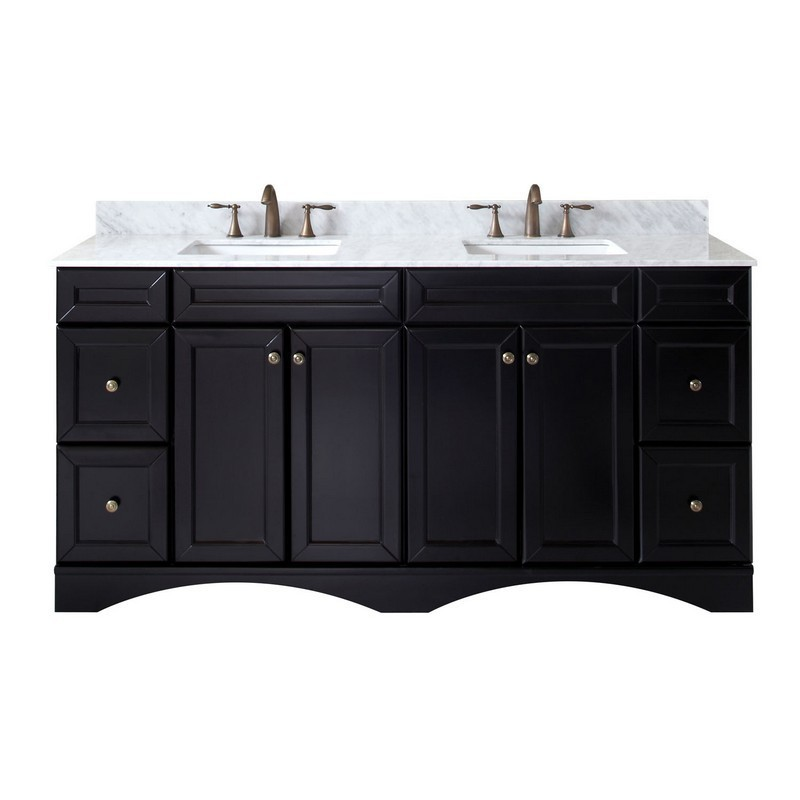 VIRTU USA ED-25072-WMSQ-ES-00-NM TALISA 72 INCH DOUBLE BATH VANITY IN ESPRESSO WITH MARBLE TOP AND SQUARE SINK WITH FAUCET