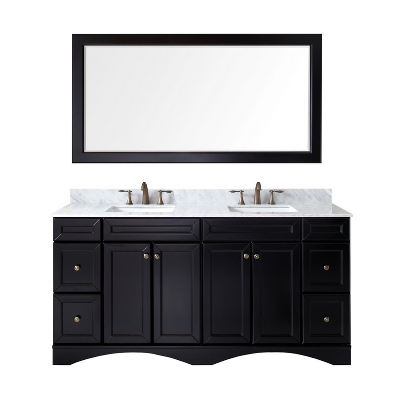 VIRTU USA ED-25072-WMSQ-ES-00 TALISA 72 INCH DOUBLE BATH VANITY IN ESPRESSO WITH MARBLE TOP AND SQUARE SINK WITH FAUCET AND MIRROR