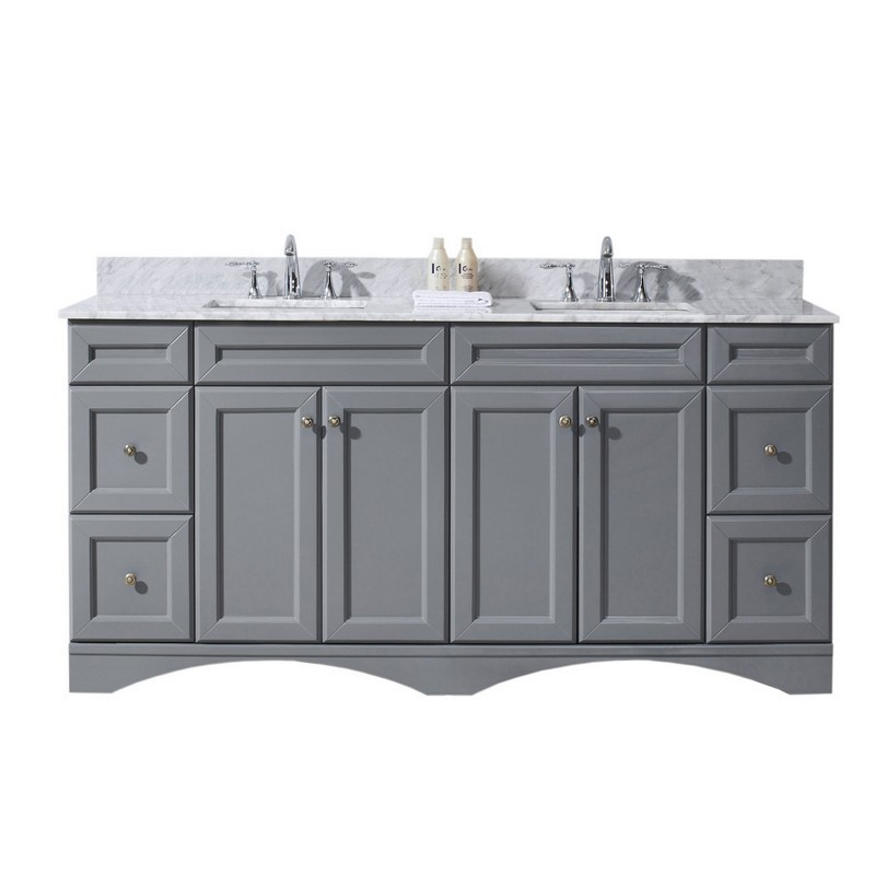 VIRTU USA ED-25072-WMSQ-GR-00-NM TALISA 72 INCH DOUBLE BATH VANITY IN GREY WITH MARBLE TOP AND SQUARE SINK WITH FAUCET