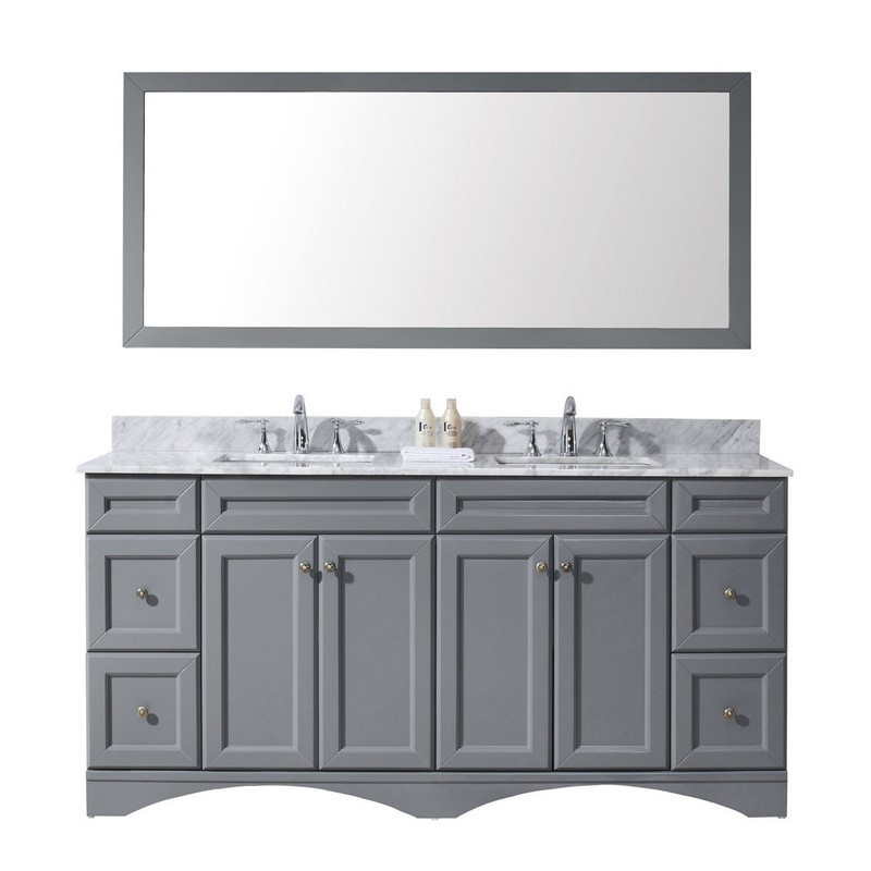 VIRTU USA ED-25072-WMSQ-GR-00 TALISA 72 INCH DOUBLE BATH VANITY IN GREY WITH MARBLE TOP AND SQUARE SINK WITH FAUCET AND MIRROR