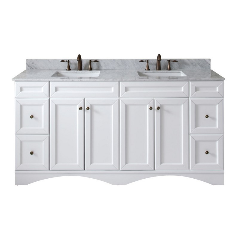 VIRTU USA ED-25072-WMSQ-WH-00-NM TALISA 72 INCH DOUBLE BATH VANITY IN WHITE WITH MARBLE TOP AND SQUARE SINK WITH FAUCET
