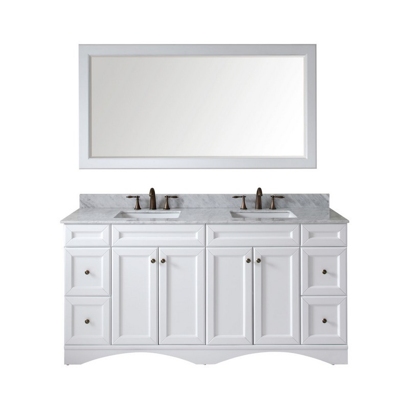 VIRTU USA ED-25072-WMSQ-WH-00 TALISA 72 INCH DOUBLE BATH VANITY IN WHITE WITH MARBLE TOP AND SQUARE SINK WITH FAUCET AND MIRROR