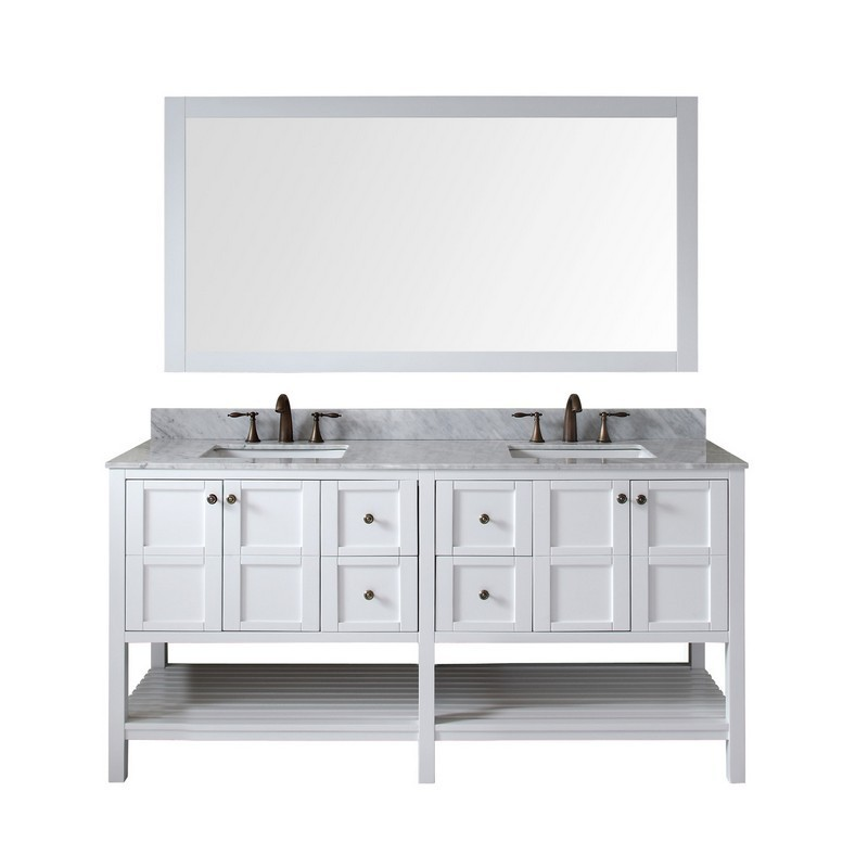 VIRTU USA ED-30072-WMSQ-WH-00 WINTERFELL 72 INCH DOUBLE BATH VANITY IN WHITE WITH MARBLE TOP AND SQUARE SINK WITH FAUCET AND MIRROR