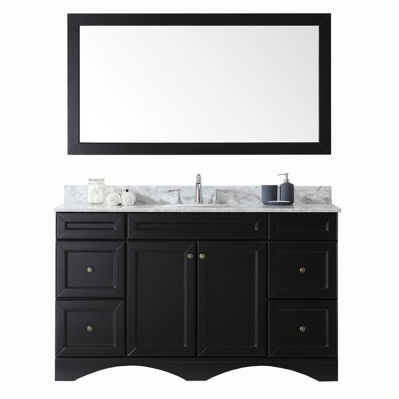 VIRTU USA ES-25060-WMRO-ES-00 TALISA 60 INCH SINGLE BATH VANITY IN ESPRESSO WITH MARBLE TOP AND ROUND SINK WITH FAUCET AND MIRROR