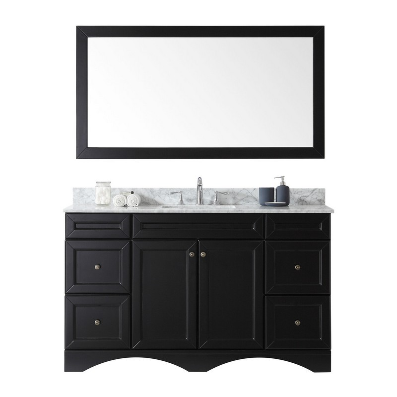 VIRTU USA ES-25060-WMSQ-ES-00 TALISA 60 INCH SINGLE BATH VANITY IN ESPRESSO WITH MARBLE TOP AND SQUARE SINK WITH FAUCET AND MIRROR