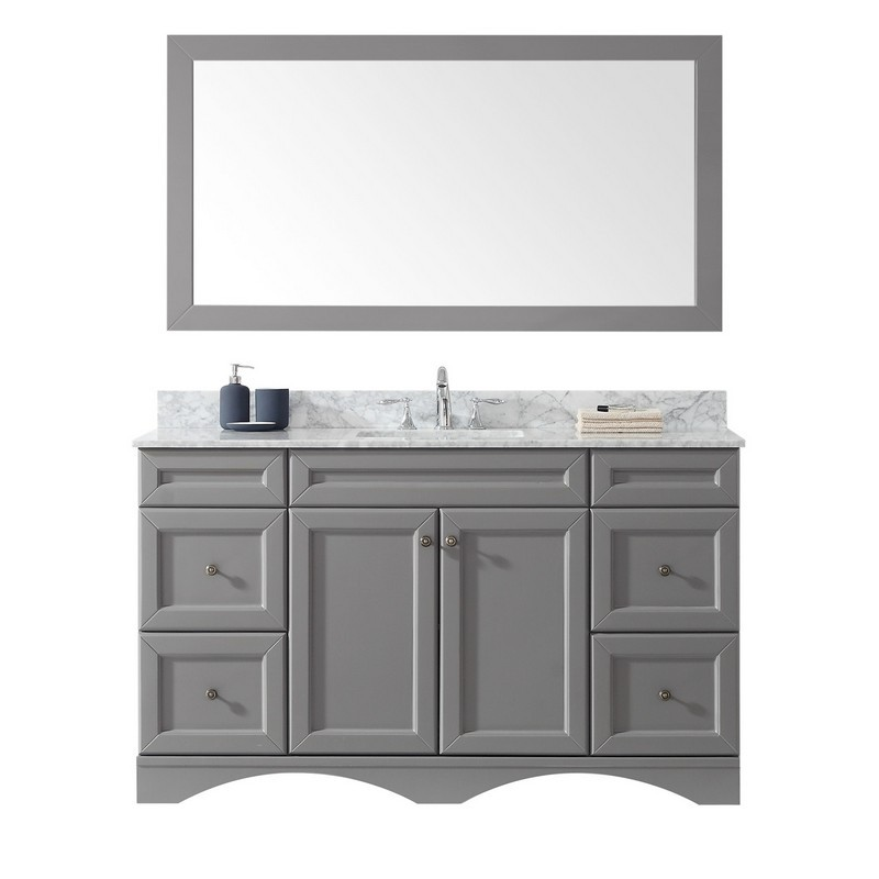 VIRTU USA ES-25060-WMSQ-GR-00 TALISA 60 INCH SINGLE BATH VANITY IN GREY WITH MARBLE TOP AND SQUARE SINK WITH FAUCET AND MIRROR