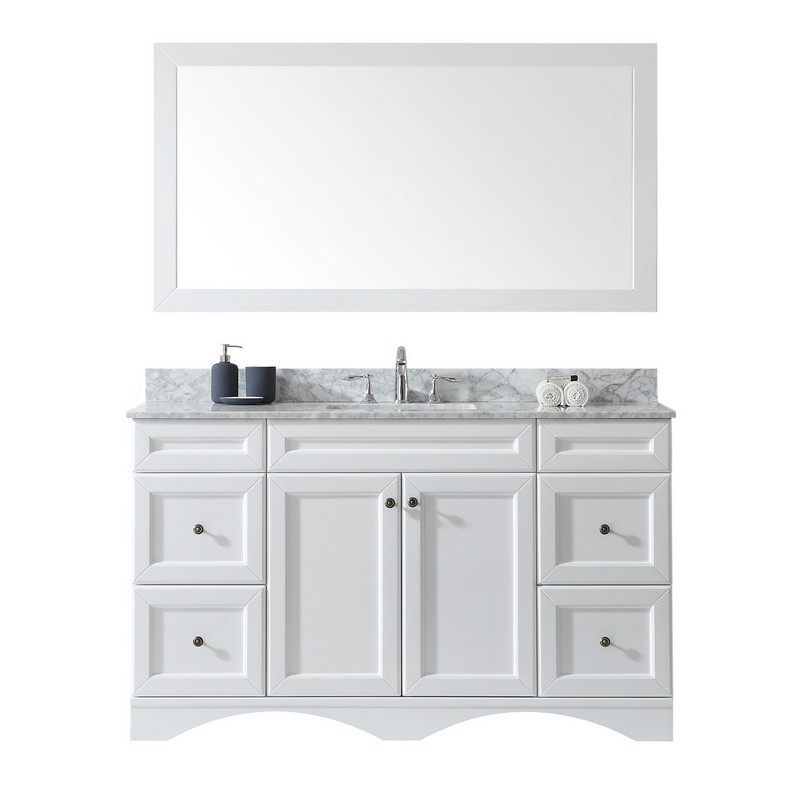 VIRTU USA ES-25060-WMSQ-WH-00 TALISA 60 INCH SINGLE BATH VANITY IN WHITE WITH MARBLE TOP AND SQUARE SINK WITH FAUCET AND MIRROR