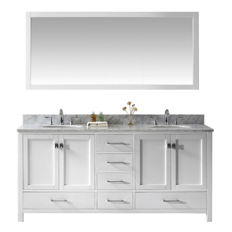 VIRTU USA GD-50072-WMRO-WH-00 CAROLINE AVENUE 72 INCH DOUBLE BATH VANITY IN WHITE WITH MARBLE TOP AND ROUND SINK WITH FAUCET AND MIRROR