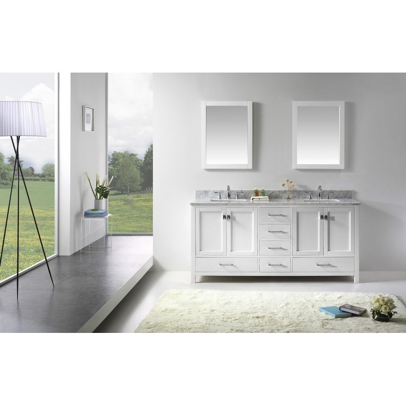VIRTU USA GD-50072-WMSQ-020 CAROLINE AVENUE 72 INCH DOUBLE BATH VANITY WITH MARBLE TOP AND SQUARE SINK WITH MIRRORS
