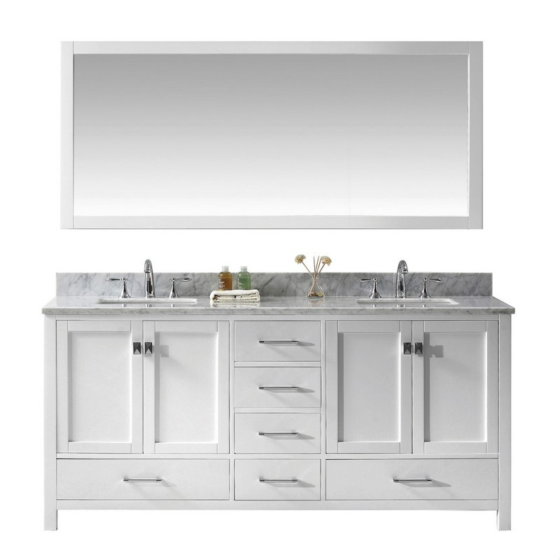 VIRTU USA GD-50072-WMSQ-WH-00 CAROLINE AVENUE 72 INCH DOUBLE BATH VANITY IN WHITE WITH MARBLE TOP AND SQUARE SINK WITH FAUCET AND MIRROR