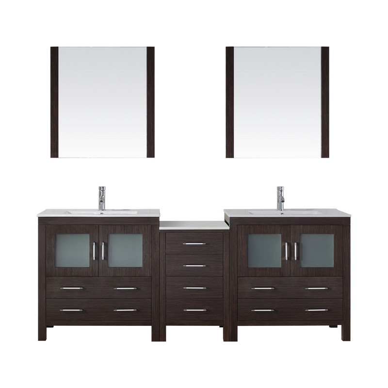 VIRTU USA KD-70082-C-001 DIOR 82 INCH DOUBLE BATH VANITY WITH SLIM WHITE CERAMIC TOP AND SQUARE SINK WITH BRUSHED NICKEL FAUCET AND MIRRORS