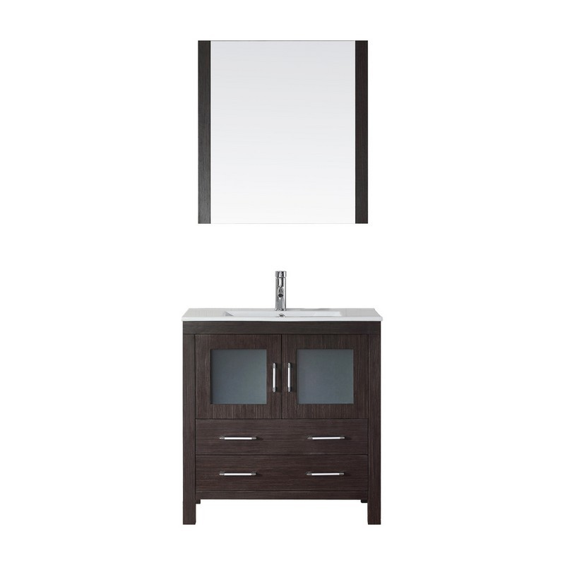 VIRTU USA KS-70032-C-001 DIOR 32 INCH SINGLE BATH VANITY WITH SLIM WHITE CERAMIC TOP AND SQUARE SINK WITH BRUSHED NICKEL FAUCET AND MIRROR